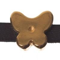 Metallperle Mini-Slider Schmetterling, vergoldet, ca. 10,5 x 10,5 mm, Durchmesser Fädelöffnung:  5,2