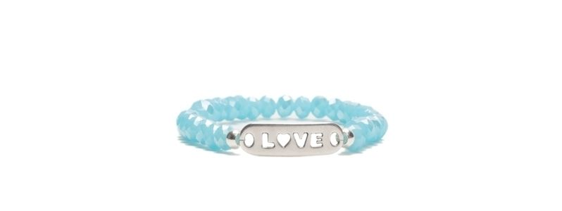 Armband mit Glasfacettrondellen Love