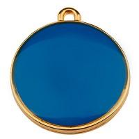 Metallanhänger Rund, Durchmesser 19 mm, blau emailliert, vergoldet