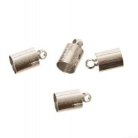4 Endkappen, für Bänder bis Durchmesser 5 mm, silberfarben