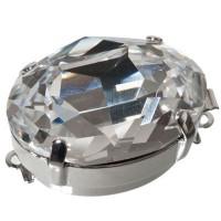 Schließe, oval, 26 x 18 mm, mit großem Swarovski Kristall, rhodiniert