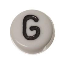 Kunststoffperle Buchstabe G, runde Scheibe, 7 x 3,7 mm, weiß mit schwarzer Schrift