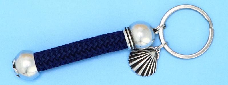 Maritimer Schlüsselanhänger mit Tau und Muschelanhänger