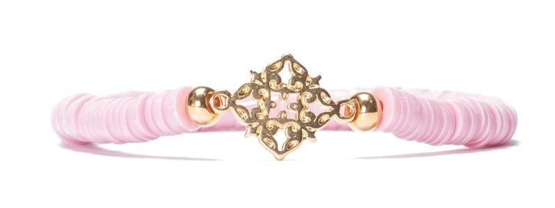 Armband mit Katsuki Perlen Rosa und Ornament