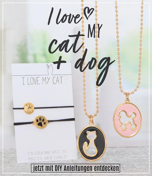Metallperlen und Metallanhänger mit Katzenmotiven und Hundmotiven
