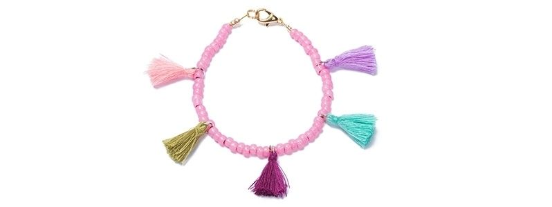 Armband mit Rocailles Pink