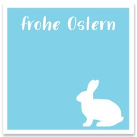 """Schmuckkarte """"Frohe Ostern"""" hellblau, quadratisch, Größe 8,5 x 8,5 cm"""