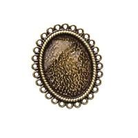 Ringschiene für Cabochons, oval 25 x 18 mm, verstellbar, antik bronzefarben