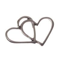 Metallanhänger Armbandverbinder Herzen, versilbert, ca. 14,0 x 19,5 mm,