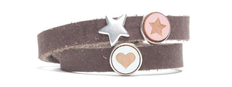 Craft Lederarmband für Slider Perlen Herz und Stern
