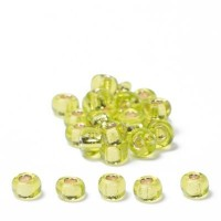 Miyuki Rocailles rund 6/0 (ca. 4 mm), Chartreuse Silver-Lined, ca. 20 gr