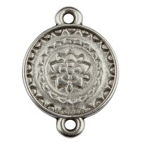 Metallanhänger Armbandverbinder Mandala, versilbert, ca. 15 mm