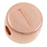 Metallperle, I Buchstabe, rund, Durchmesser 7 mm, rosevergoldet