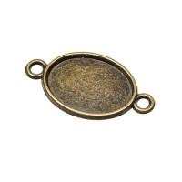 Anhänger/Fassung für Cabochons, 18 x13 mm, 2 Ösen, antik bronzefarben