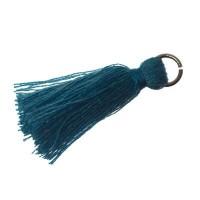 Quaste/Troddel, 25 - 30 mm, Baumwollgarn mit Öse (silberfarben), jeansblau