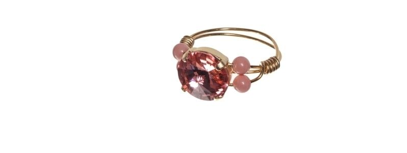 Goldige Ringe mit Swarovski Rivoli Rose Peach