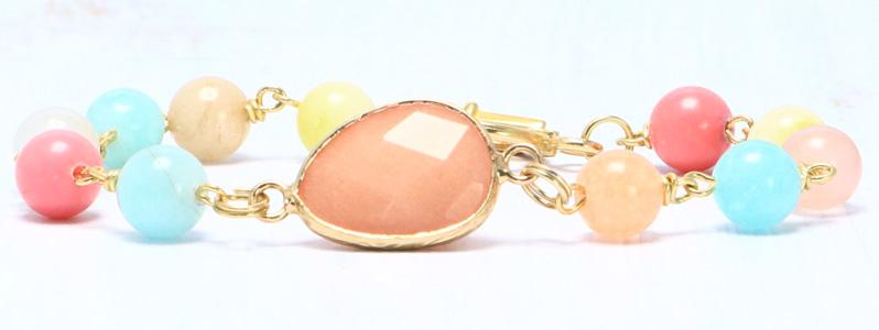 Armband mit Edelsteinarmbandverbinder und Edelsteinnmix