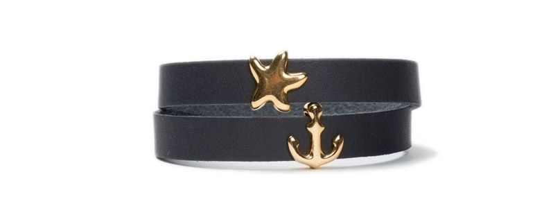 Armband mit Schiebeperlen Anker Gold