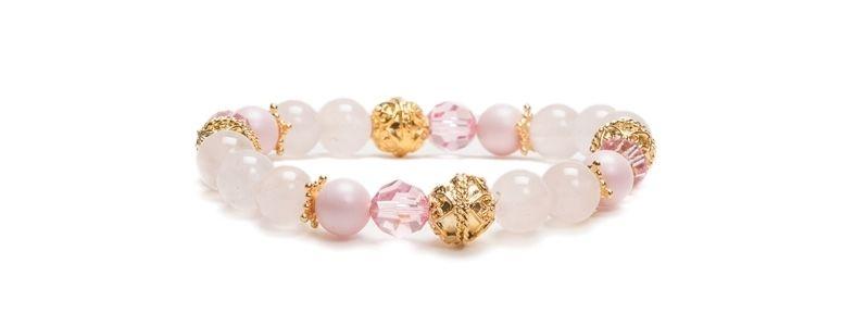 Armband mit Edelsteinen Rosenquarz