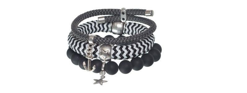 Armbänder mit gestreiftem Segelseil schwarz
