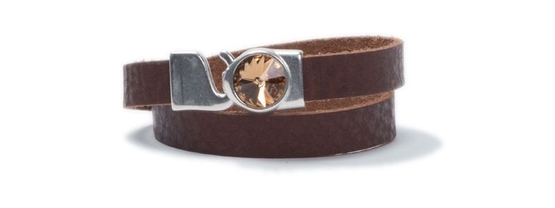 Breites Wickelarmband aus Büffelleder Rivoli Topaz