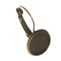 Ohrhänger mit Fassungen für Cabochon, rund 12 mm, bronzefarben