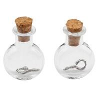 Mini Glasflaschen, 19 x 10 x 24 mm, mit Korkenverschluss und Aufhängeöse, 2 Stück