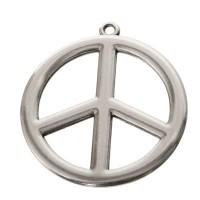 Metallanhänger Peace, ca. 34 mm, versilbert