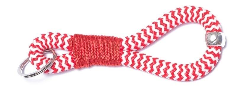 Schlüsselanhänger aus Segelseil Takling-Knoten Rot-Weiß
