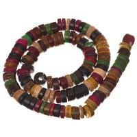Kokosnussperlen, Scheibe, 9 x 4 mm, multicolor, Strang