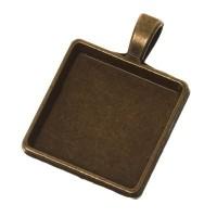 Anhänger für eckige Cabochons 20 x 20 mm, bronzefarben
