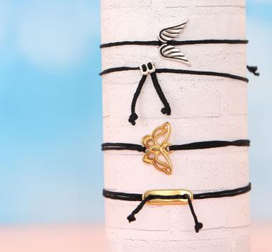Zarte Armbänder mit Schiebeverschluss aus Metall