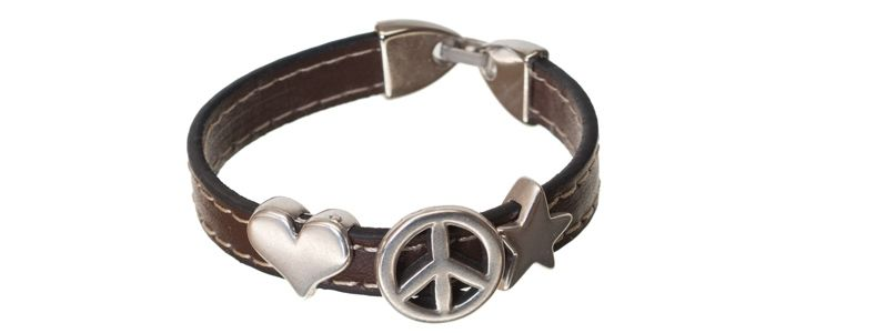 Lederlook Armband Peace