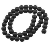 Strang Synthetischer Quarz, Kugel, schwarz gefrostet, Durchmesser ca. 8,0 mm, Länge des Stranges ca.