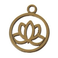 CM Metallanhänger Lotus, 24 x 20 mm, goldfarben
