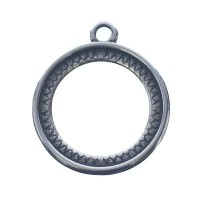 Fassung für runde Cabochons 20 mm, beidseitig, 1 Öse, versilbert