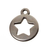 Metallanhänger Stern, 10 x 12 mm, versilbert