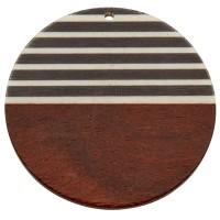 Anhänger aus Holz und Resin, Runde Scheibe, 49,0 x 3,5 mm, Öse 2,0 mm, gestreift