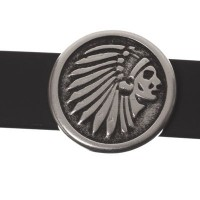Metallperle Slider Indianer, versilbert, ca. 17 mm