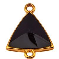 Armbandverbinder Dreieck mit 2 Ösen, vergoldet und schwarz emailliert