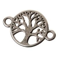 Metallanhänger / Armbandverbinder Baum, 22 x 15 mm, versilbert