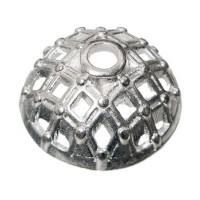 Metallperle Perlkappe versilbert, ca. 15 mm