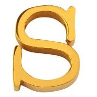 Buchstabe: S, Edelstahlperle in Buchstabenform, goldfarben, 11 x 9 x 3 mm, Lochdurchmesser: 1,8 mm