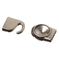 Hakenverschluss, Fassung für Rivoli 12 mm, 32 x 15 mm, versilbert