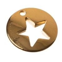 Metallanhänger Stern, 16 x 16 mm, vergoldet