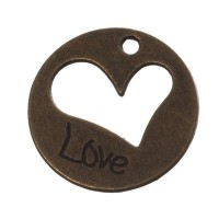 """Metallanhänger """"Love"""", rund, 20 mm, bronzefarben"""