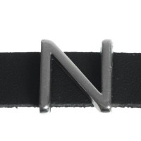 "Metallperle Slider / Schiebeperle Buchstabe ""N"", versilbert, ca. 12,9 x 13,6  mm"