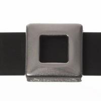 Metallperle Slider / Schiebeperle Viereck, versilbert, ca. 13,5 x 13,5 mm