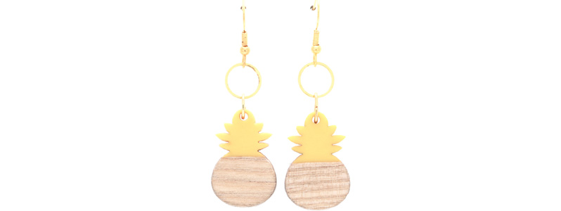 Ohrringe mit Holz-Resin-Anhängern Ananas