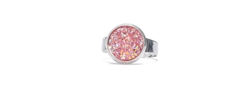 Ring mit Glitzercabochons Pink Crystal